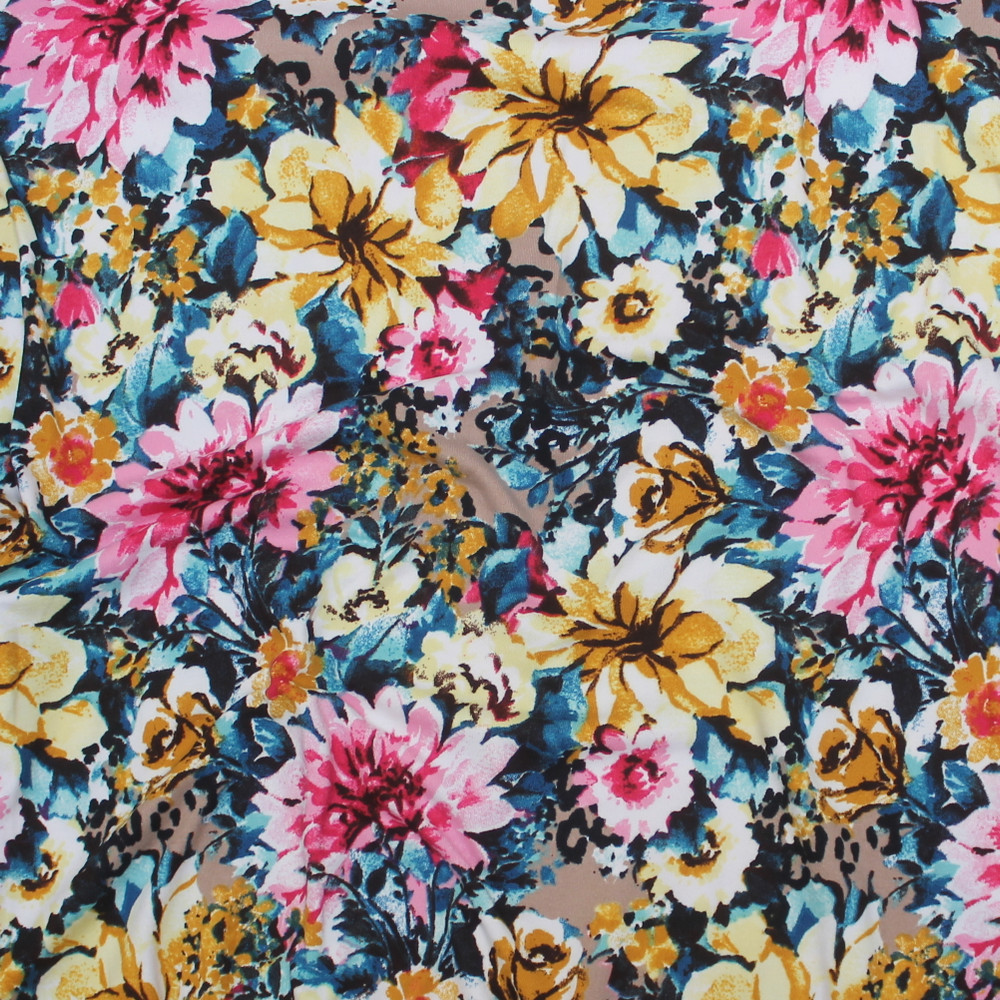 Floral on Tan Double Brushed Poly
