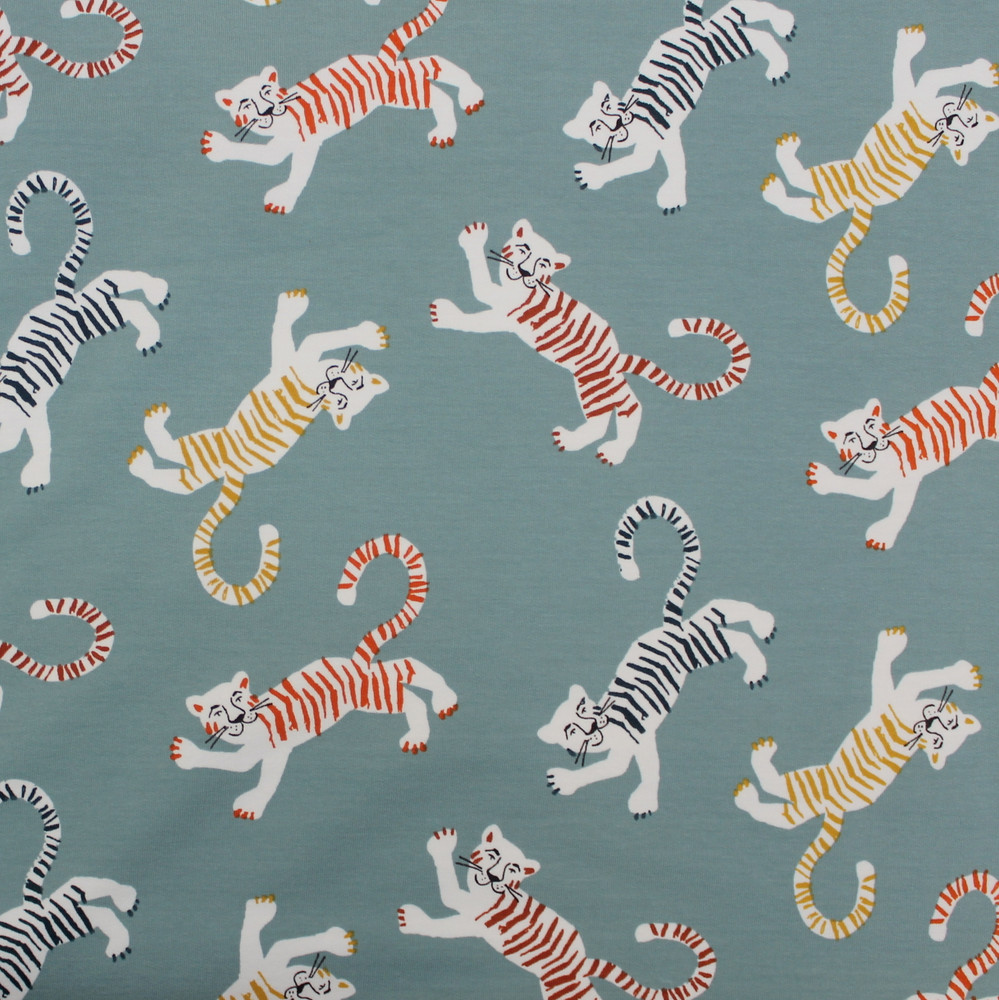 Tigers on Light Blue French Terry Knit
