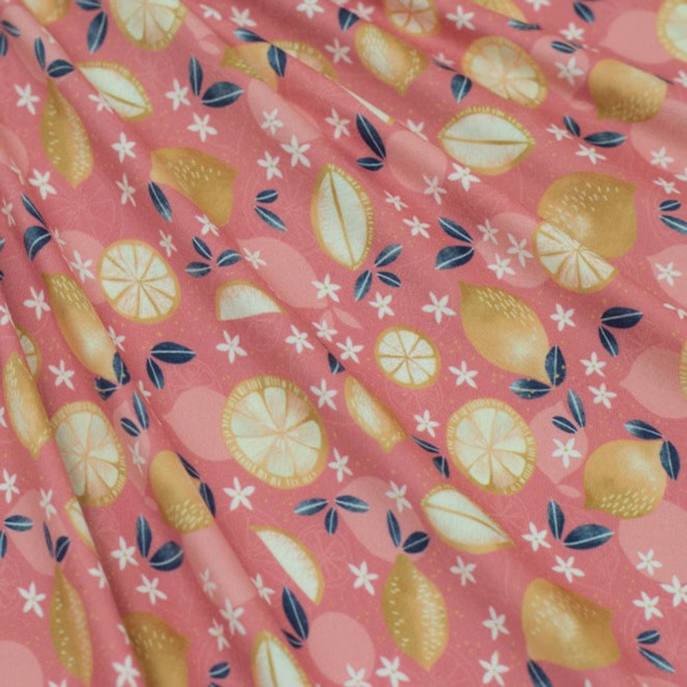 Lemons and Flowers on Pink Double Brushed Poly