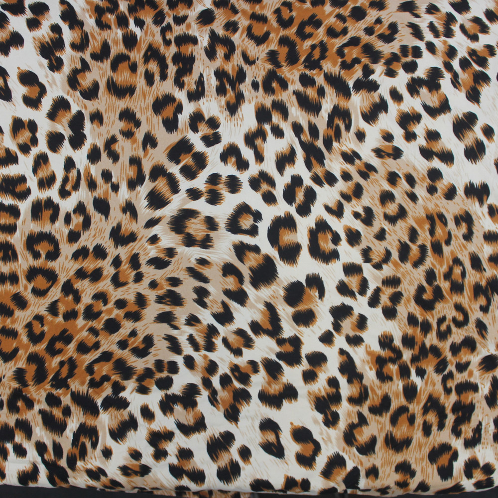 Leopard Spots Animal Skin Double Brushed Poly