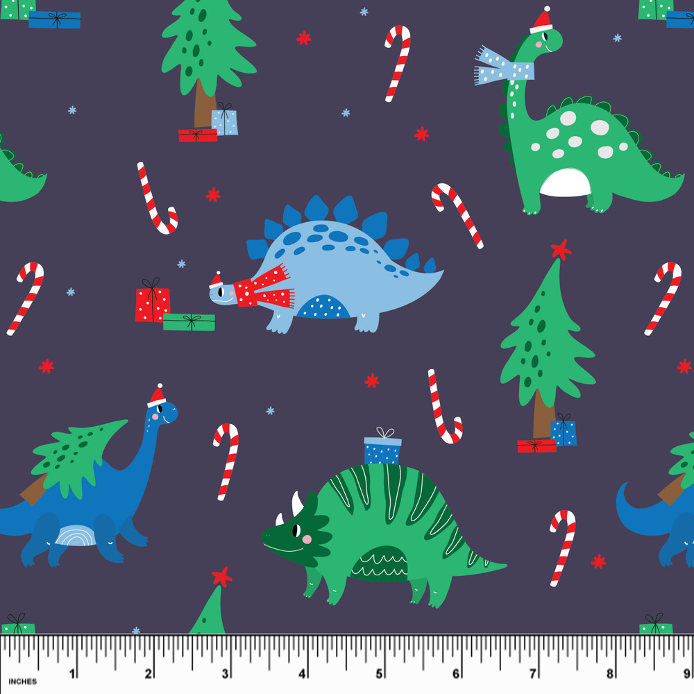 Custom Dino Christmas Cotton Lycra Knit