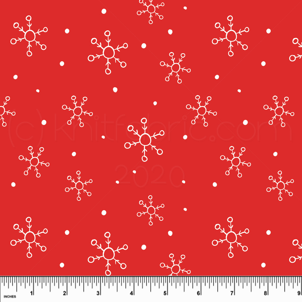 Custom Snowflakes on Red Cotton Lycra Knit