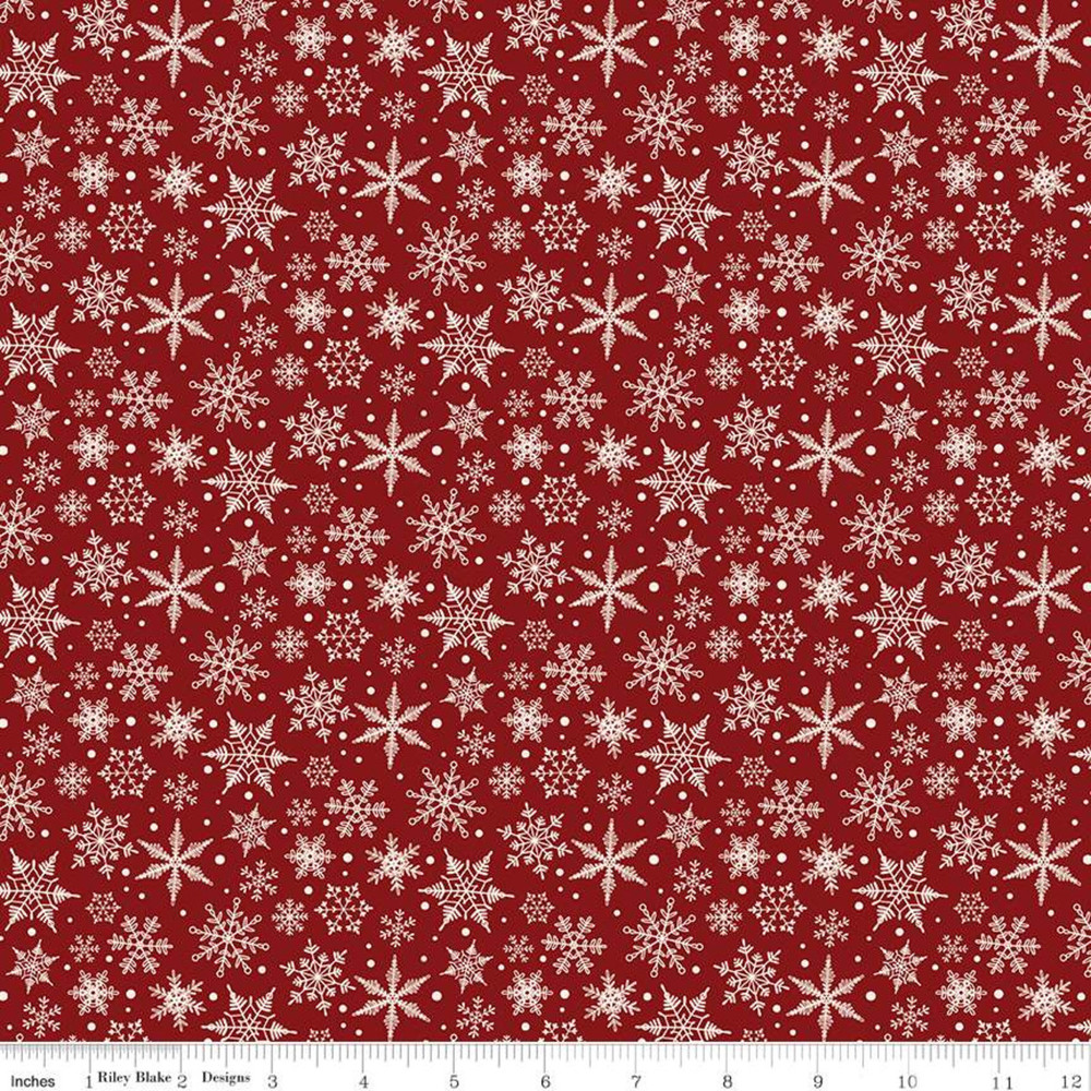 Riley Blake Christmas Traditions Snowflakes Red Quilting Cotton