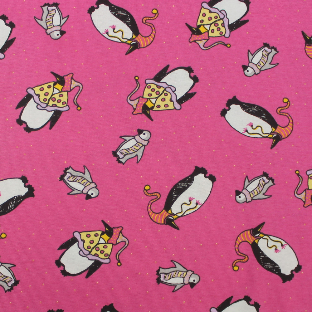 Penguins on Pink Rib Knit- Seconds