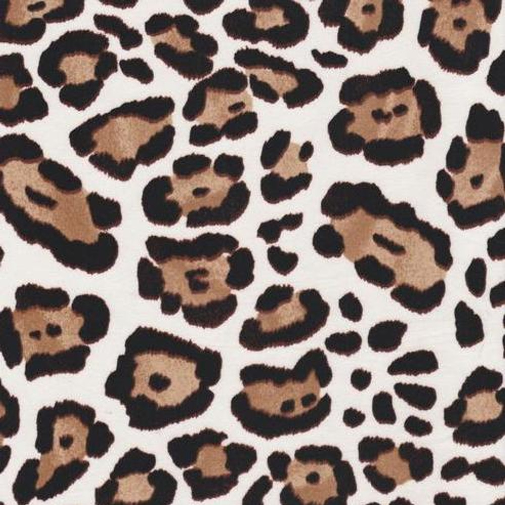 Leopard Print on Ivory Double Brushed Poly