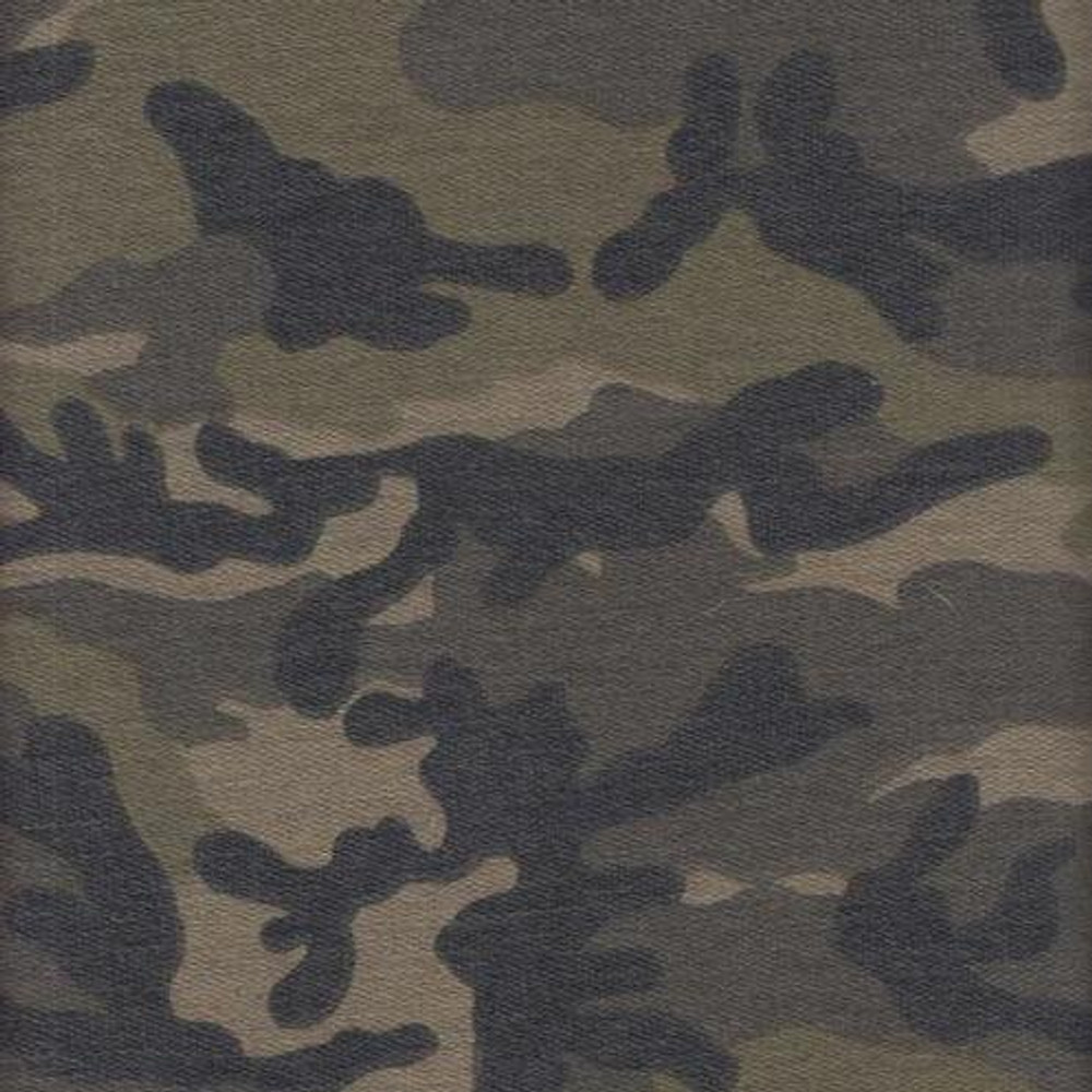 Green and Brown Camouflage French Terry Knit