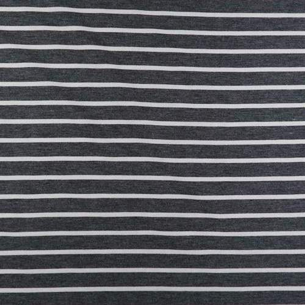 Black and Ivory Stripe French Terry Knit
