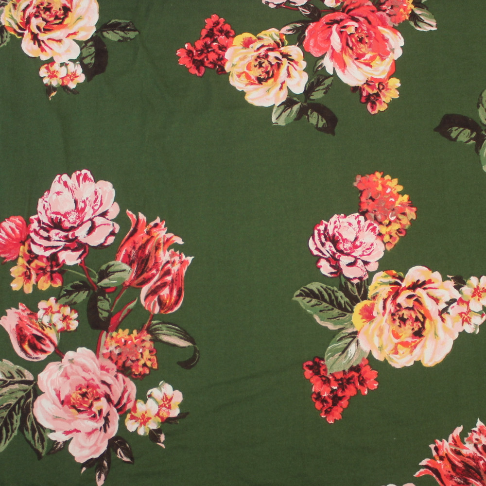 Large Floral on Olive Double Brushed Poly