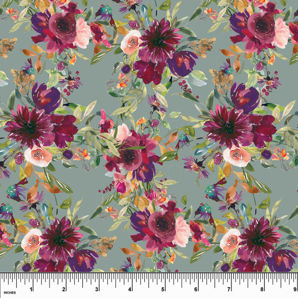 Sage Floral  Double Brushed Poly