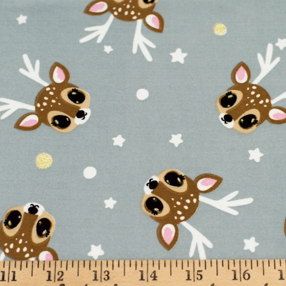 Glitter Reindeer Double Brushed Poly