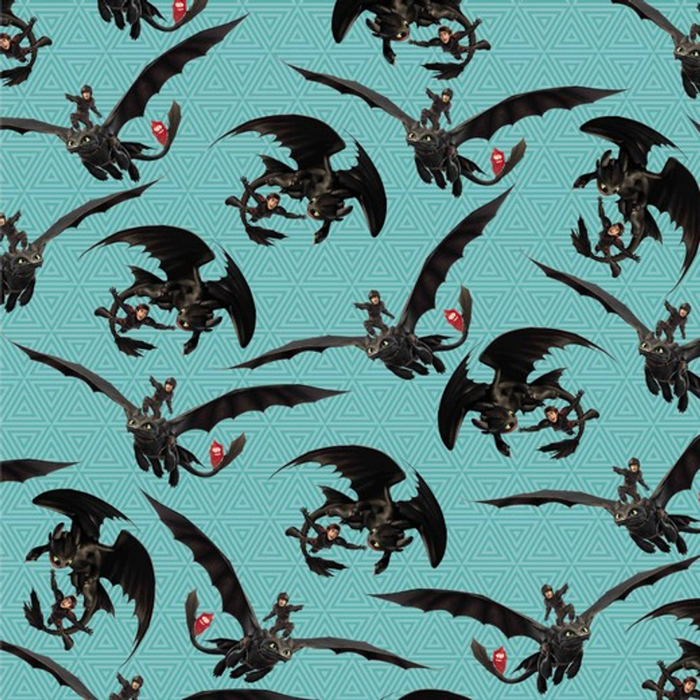How to Train Your Dragon on Blue French Terry Knit
