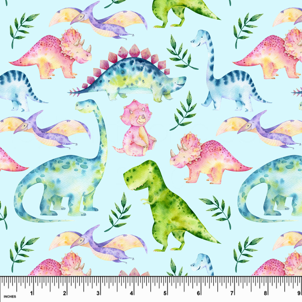 Pastel Dinosaurs Double Brushed Poly