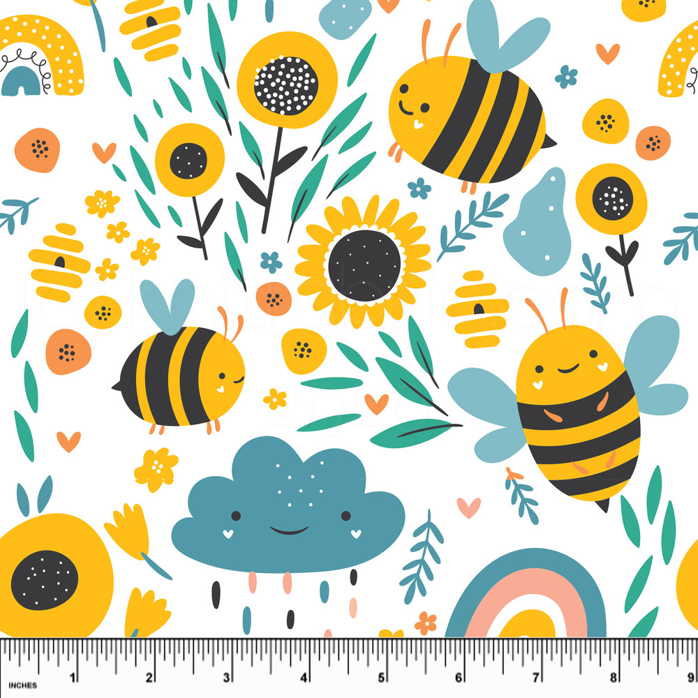 Custom Bumblebee Garden Cotton Lycra Knit