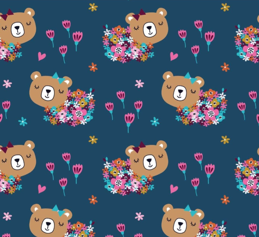 Floral Bears on Navy Cotton Lycra
