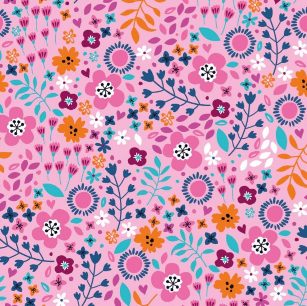 Mountain Floral on Pink Cotton Lycra