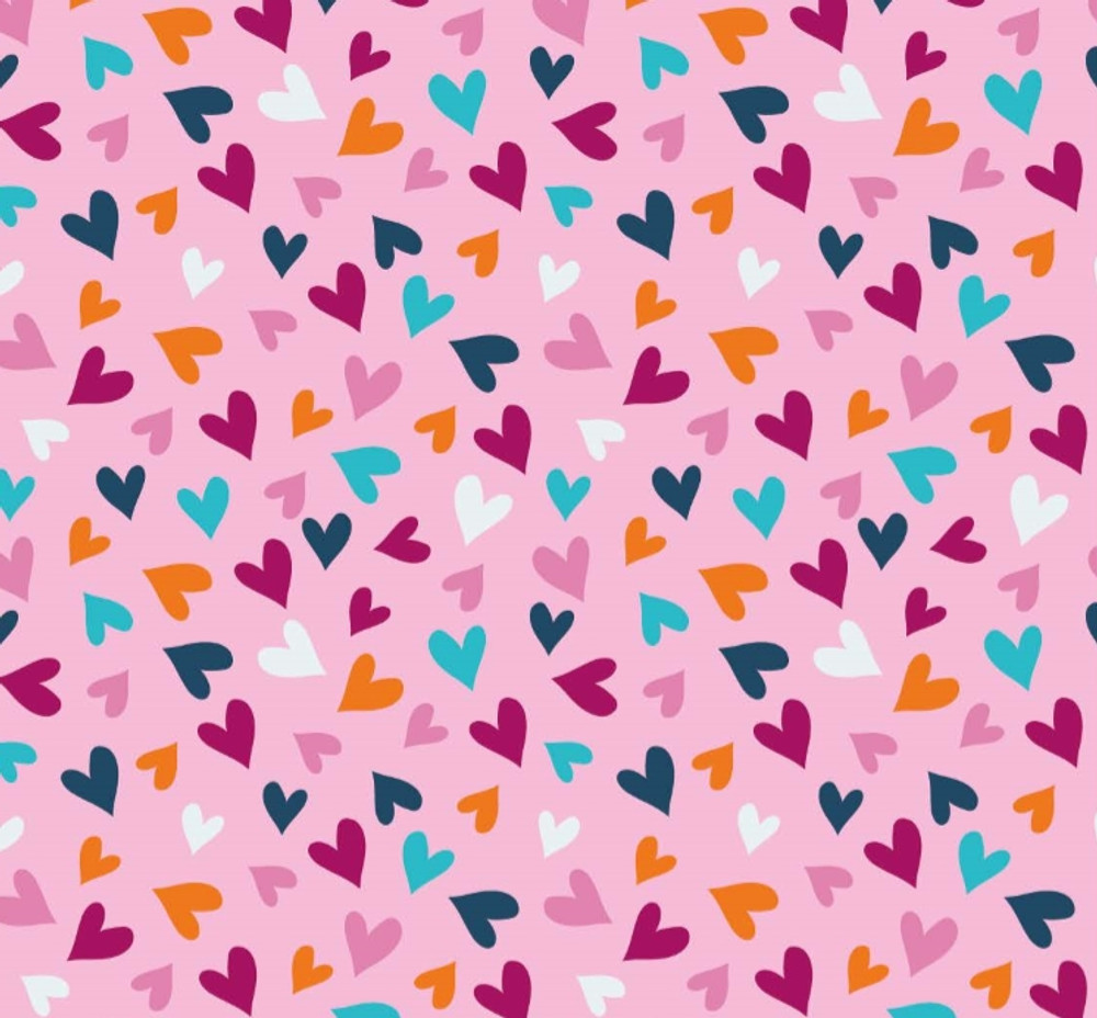Tossed Hearts on Pink Cotton Lycra