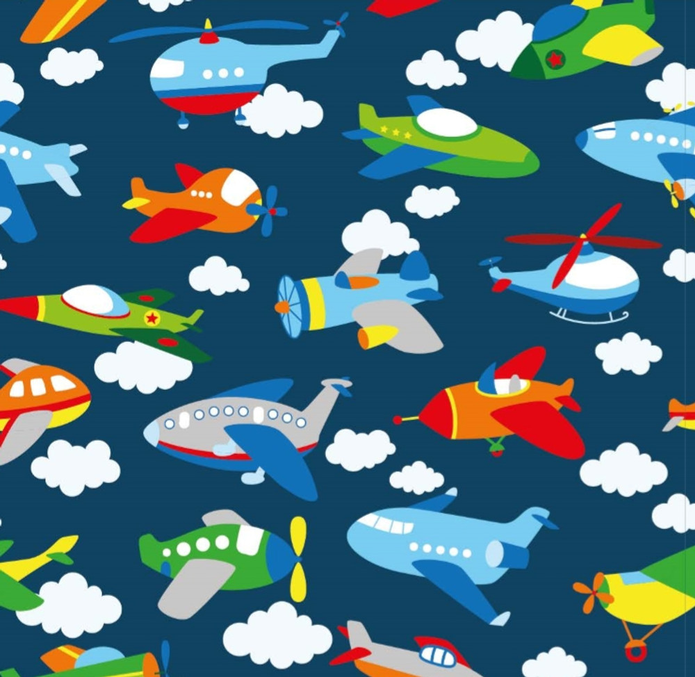 Airplanes on Navy Cotton Lycra