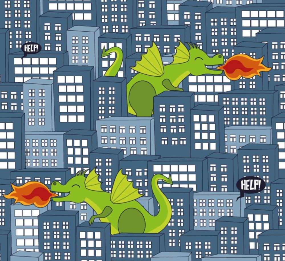 Dragons in the City on Navy Cotton Lycra