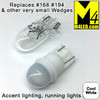 T10-3D-2-CW Cool White LED Light Bulb (#194 #168) with Wedge Base