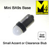 BA9s-3D-2-CW Cool White LED Light Bulb with Mini Round Base