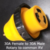 30 Amp Rotary Female to 30 Amp Standard RV Adapter