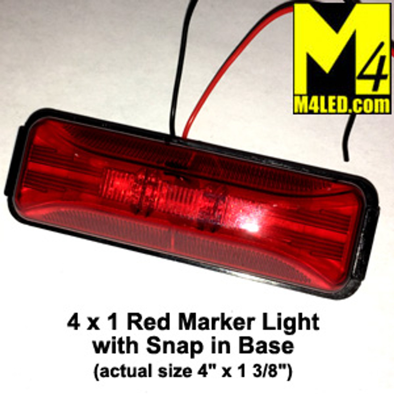"4"" x 1"" Red LED Marker Lights with Bracket and Wire"