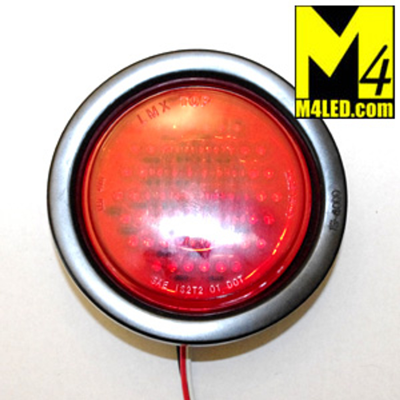 "4"" Red LED Round Running and Stop Lamp with seal and harness"
