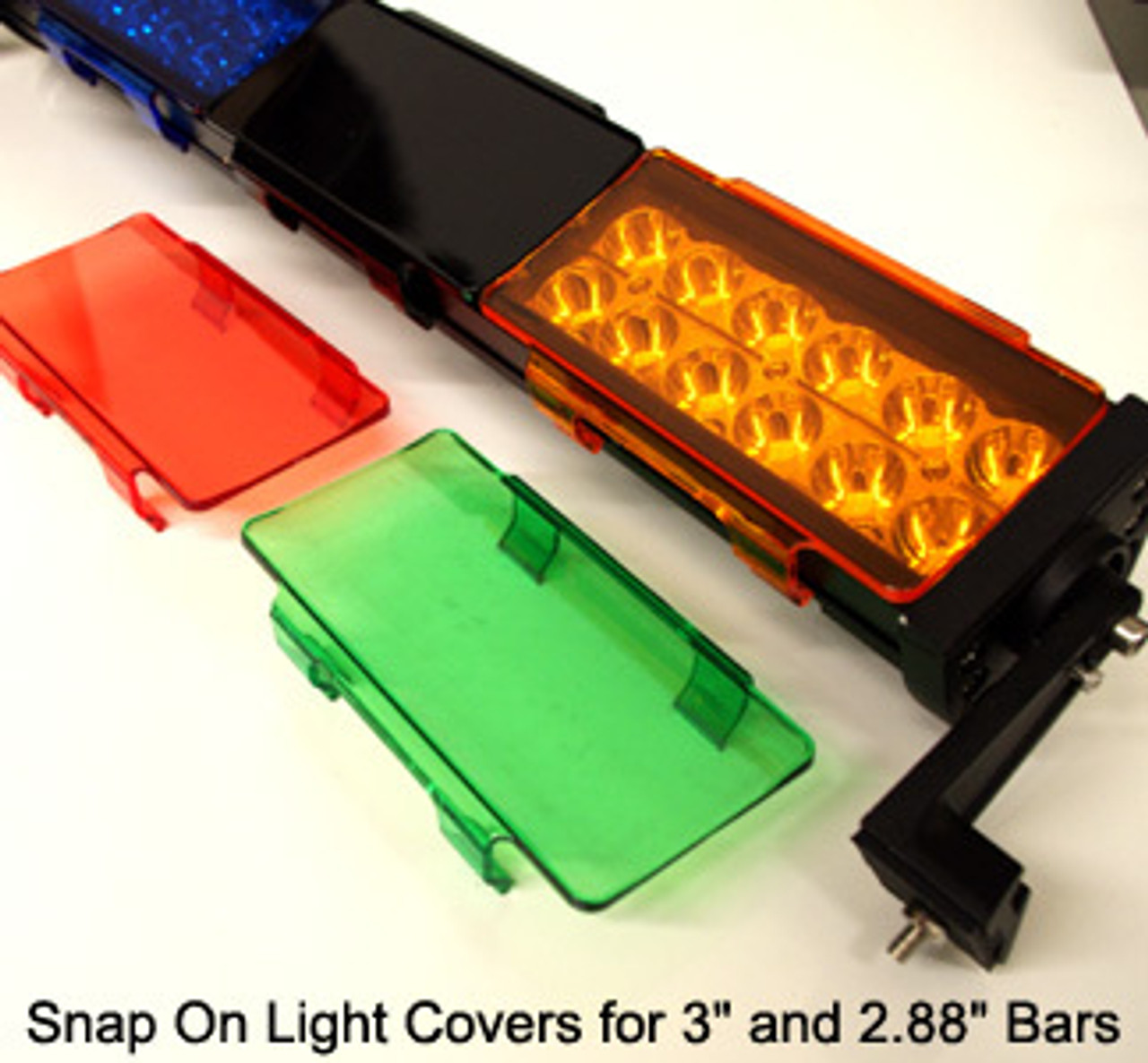 """Snap On Light Cover 6"""" wide fits 3"""" tall and smaller light bars BLACK"""
