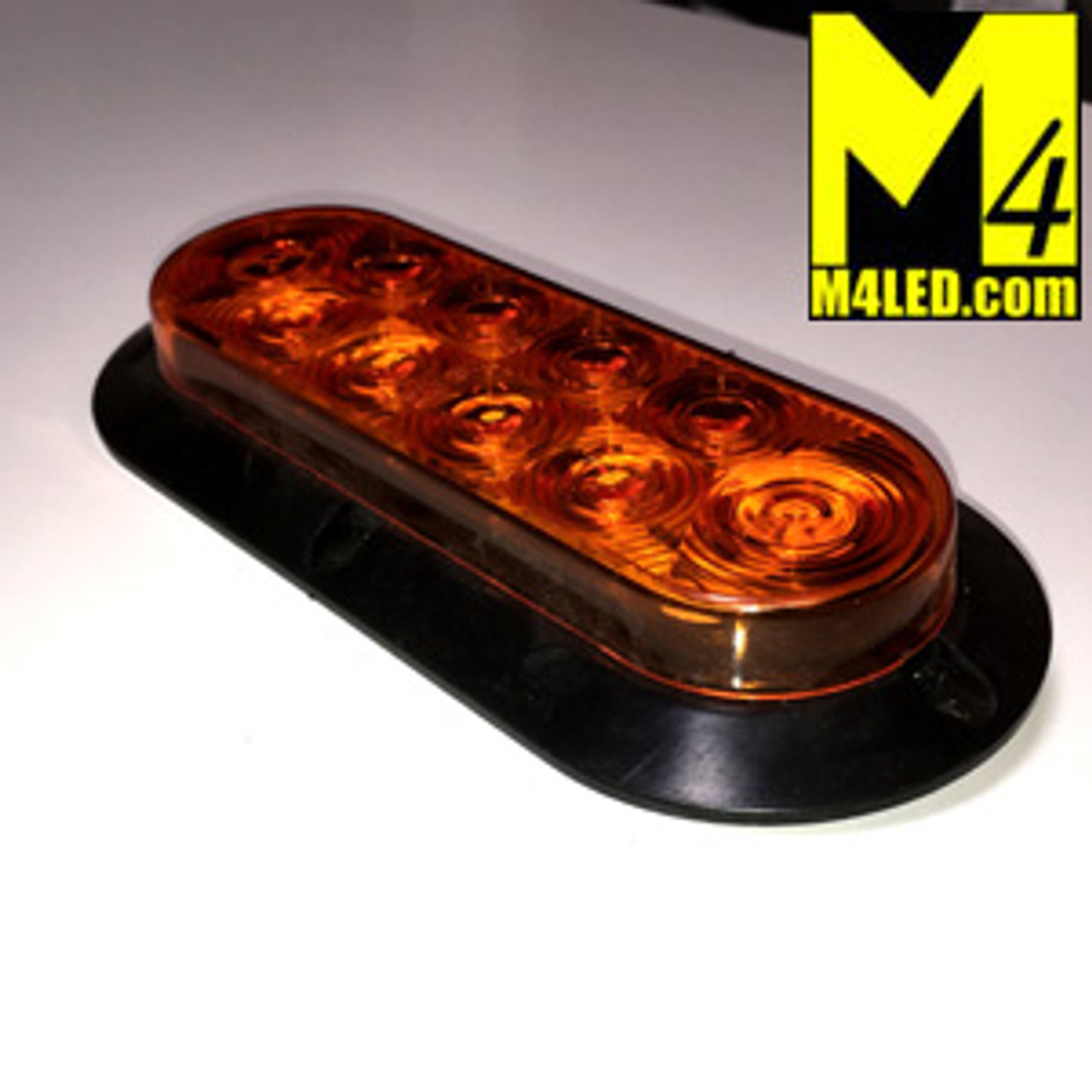 "6"" Amber LED Oval Surface Mount Running and Stop Lamp"