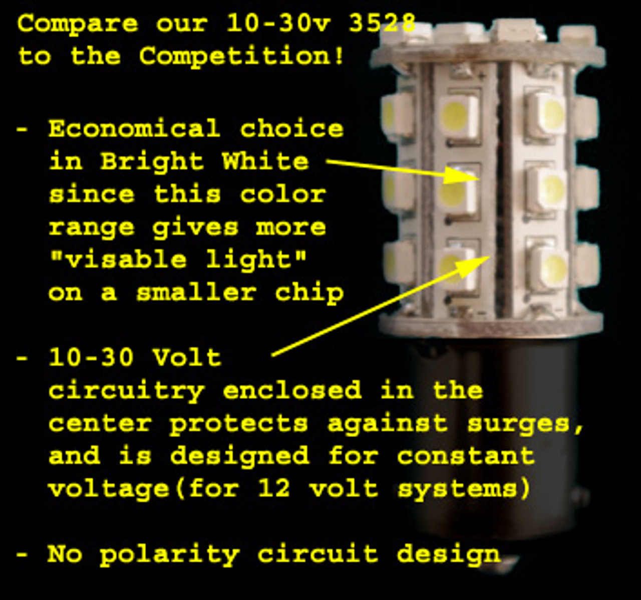1142-30-2835-CW Cool White Economy Cool Bright White 2835 LED Light Bulb with 2 Contact BA15d Base (1142/1076)