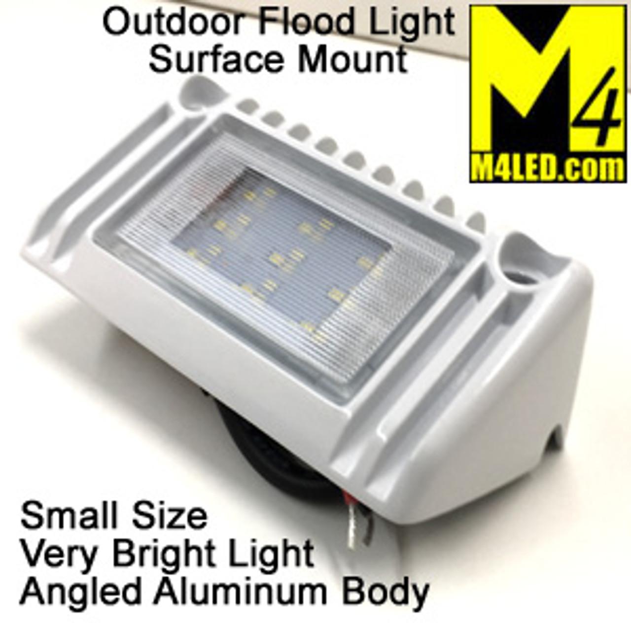 """Angled Aluminum Body Flush Mount Flood Light 5"""" White"""