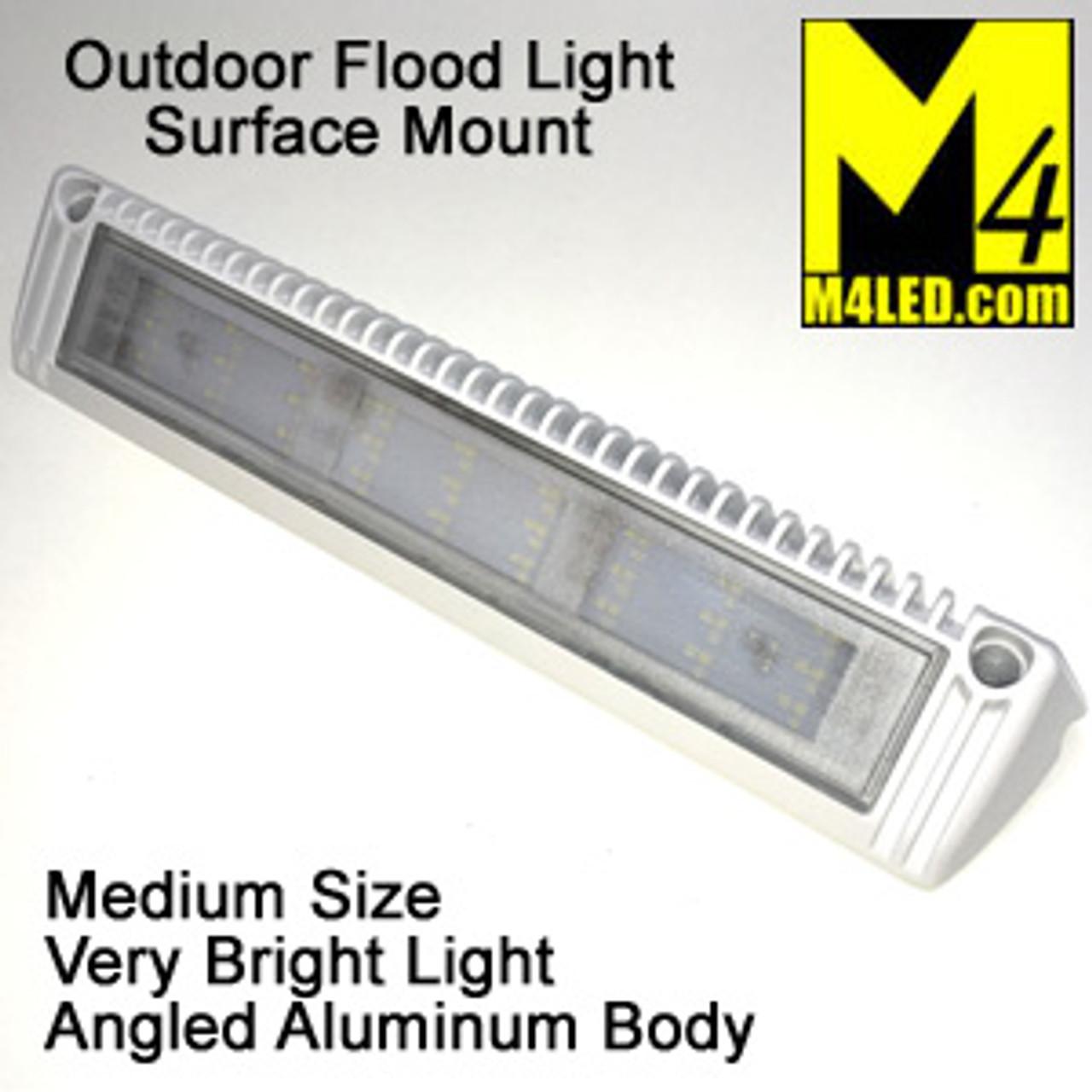 "Angled Aluminum Body Surface Mount Flood Light 13"" White"