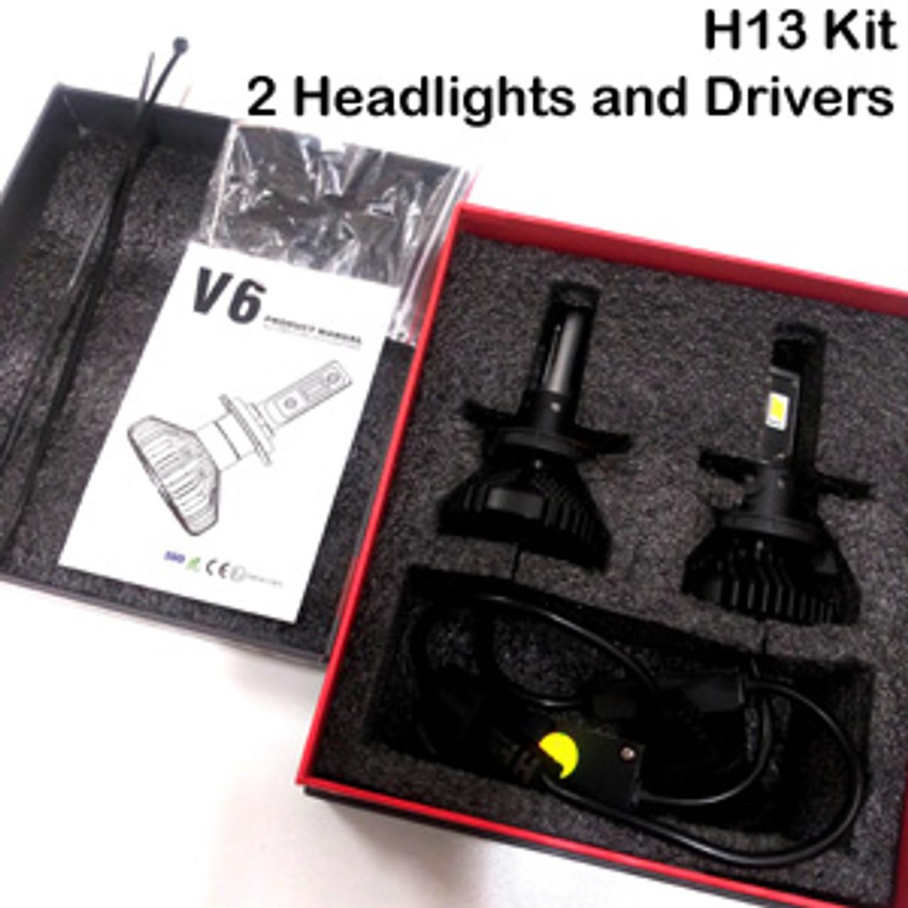 HEADLIGHTS-H13-V6s Headlight Kit with H13 Bases 9008