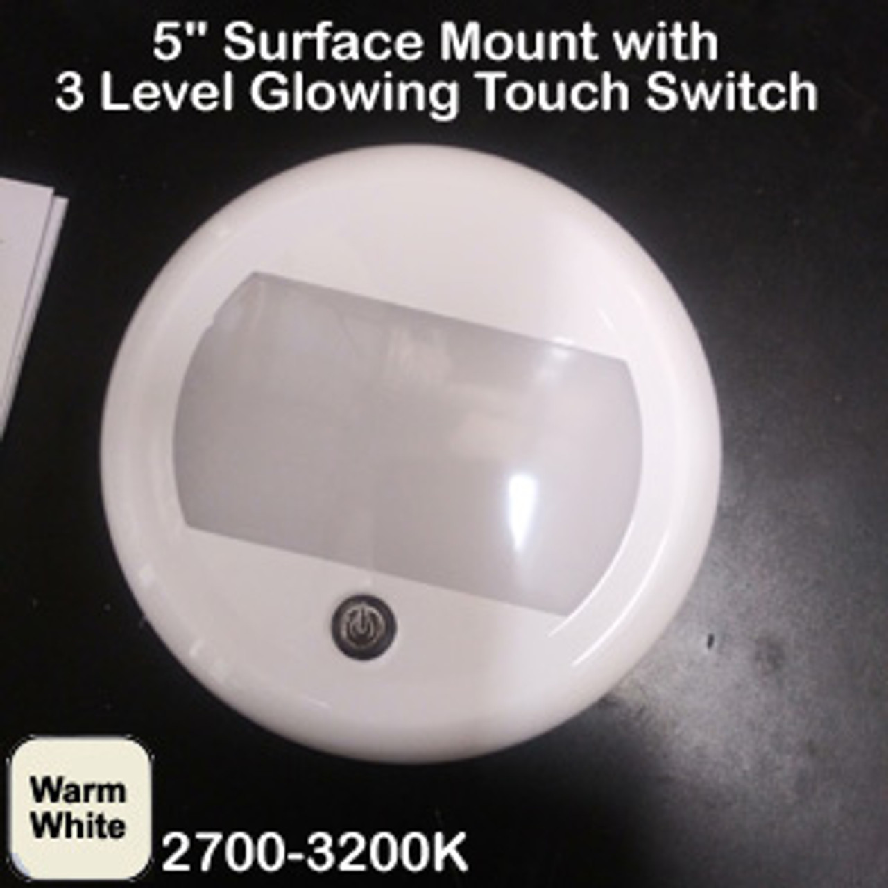 "Round SAN9101"" Round Dome with 3 Level Touch Switch Warm White"