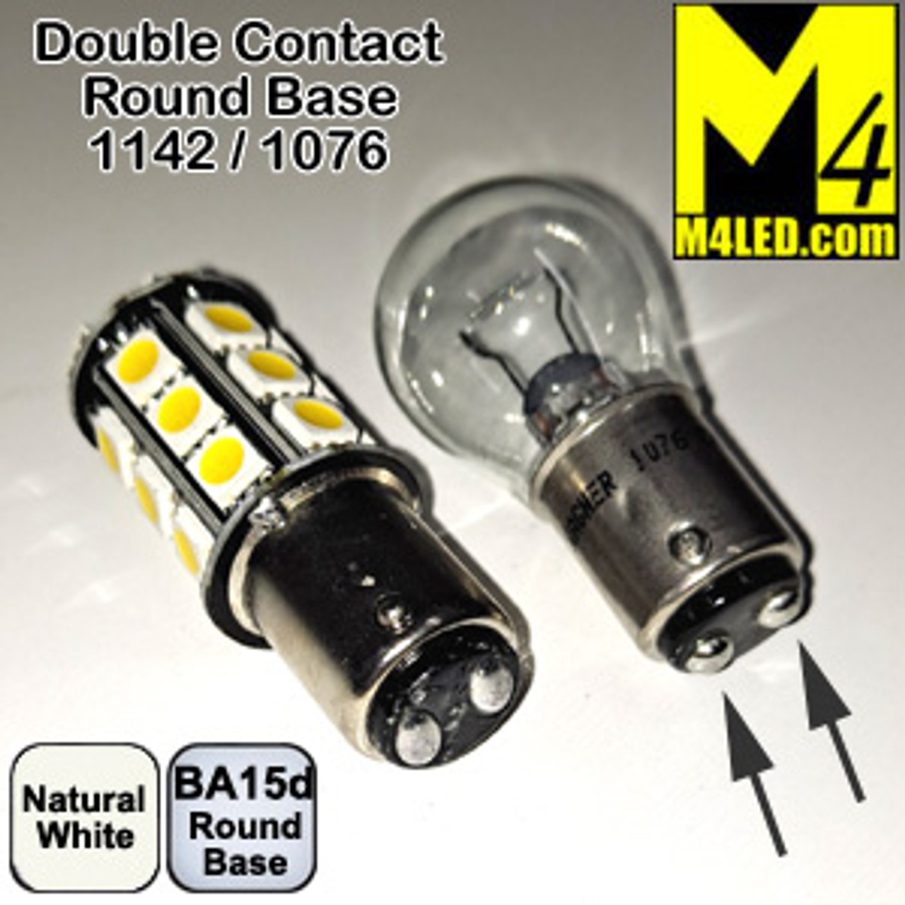 1142-24-5050-NW Natural White 5050 SMD LED Light Bulb with Two Contact (1142/1076) BA15d Base