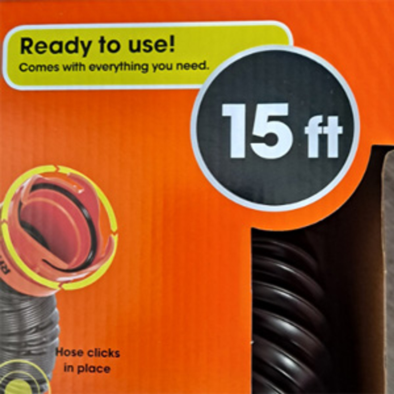 15ft Rhino Premium Sewer Hose with 90 degree Ground Adapter