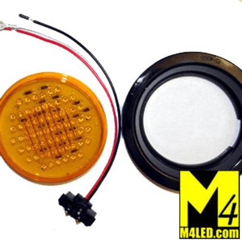 """4"""" Amber LED Round Running and Stop Lamp with seal and harness"""