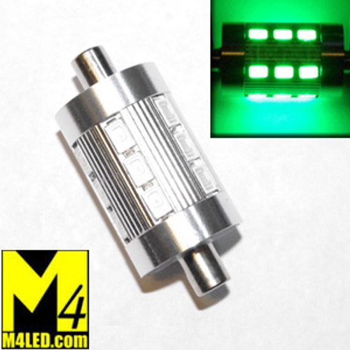 FESTOON-18-5630-GREEN Nautical Green 44mm Nautical Style Dimpled Festoon Super Bright 18 5630 LEDs