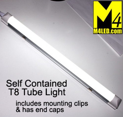 """T8-STANDALONE-CW Cool White Self Contained 18"""" T8 LED Tube Light 12v 6000k"""