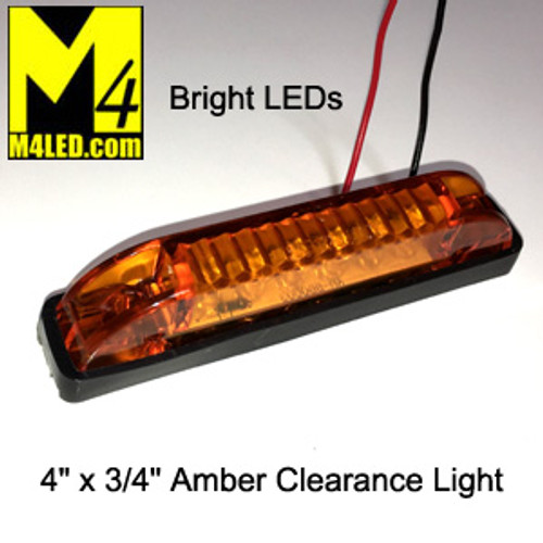 """4"""" x 3/4"""" Amber LED Surface Mount Clearance Lights"""