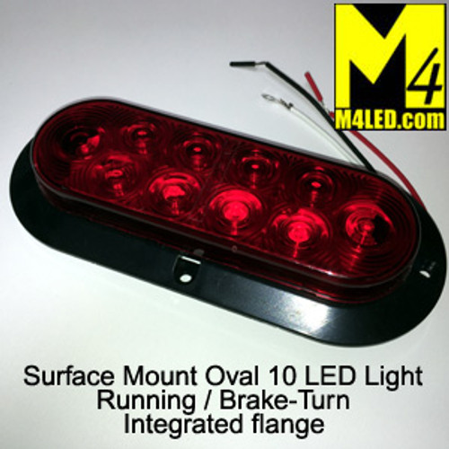 "6"" Red LED Oval Surface Mount Running and Stop Lamp"