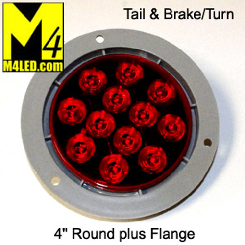 "4"" Red LED Round Running and Stop Lamp with integrated plastic flange"