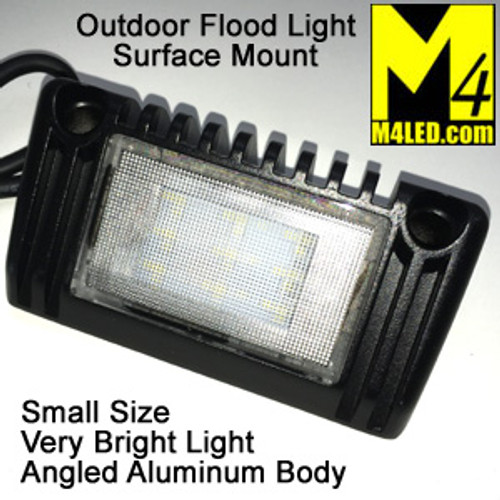 "Angled Aluminum Body Surface Mount Flood Light 5"" Black"