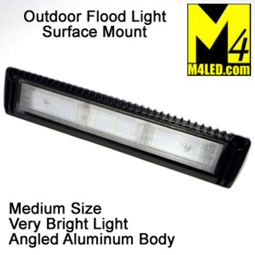 "Angled Aluminum Body Surface Mount Flood Light 13"" Black"
