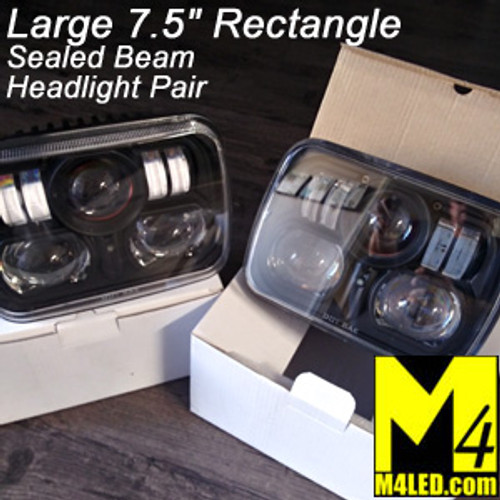 SAN6851 Pair Large Standard Rectangle Headlight LED Replacement 7.5x5.25