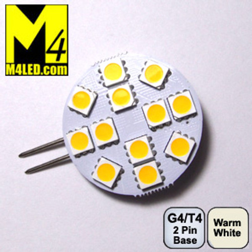 G4-12-5050-SIDE-WW Warm White G4 / T3 Retrofit LED Light with Side Pins Replaces 10w Halogen