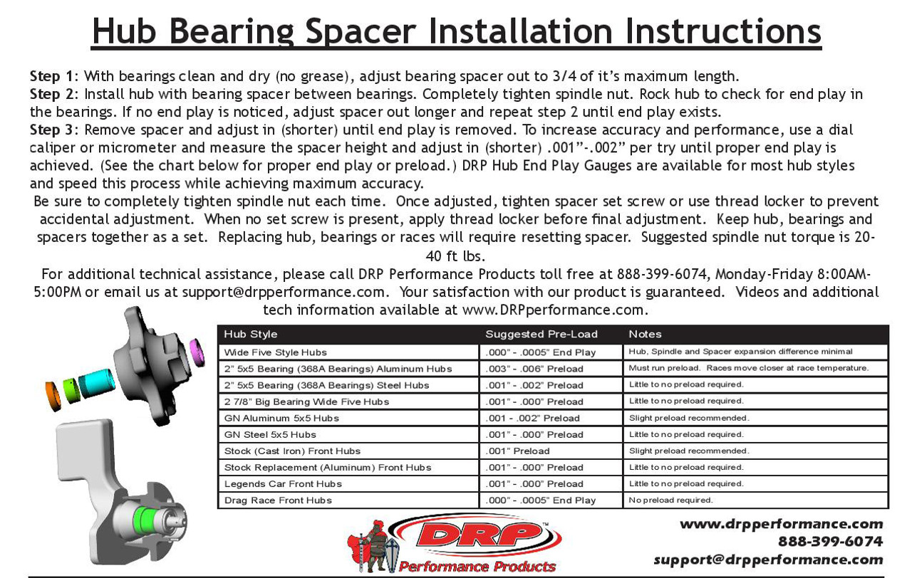 """2"""" 5x5 Low Drag Hub Parts Kit ( with Steel Bearing Spacer)"""