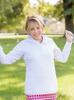 Birdies & Bows White Quarter Zip Long Sleeve Golf Shirt