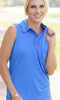 Birdies & Bows Medium Blue Ruffle Sleeveless Ladies Golf Shirt