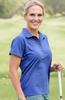 Birdies & Bows Pitch Putt Navy Blue Ladies Golf Polo with Green Trim